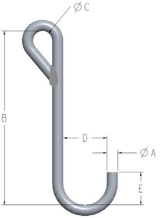Alloy Steel J Hooks Eye Style C