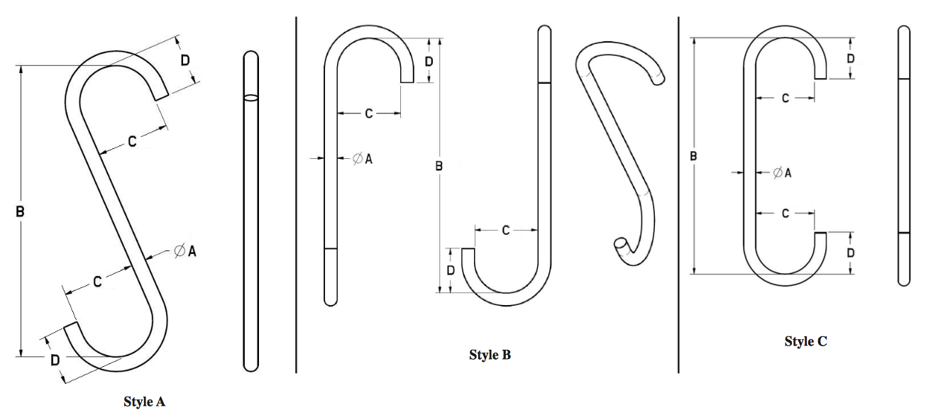 Alloy Steel S Hooks Style A B and C